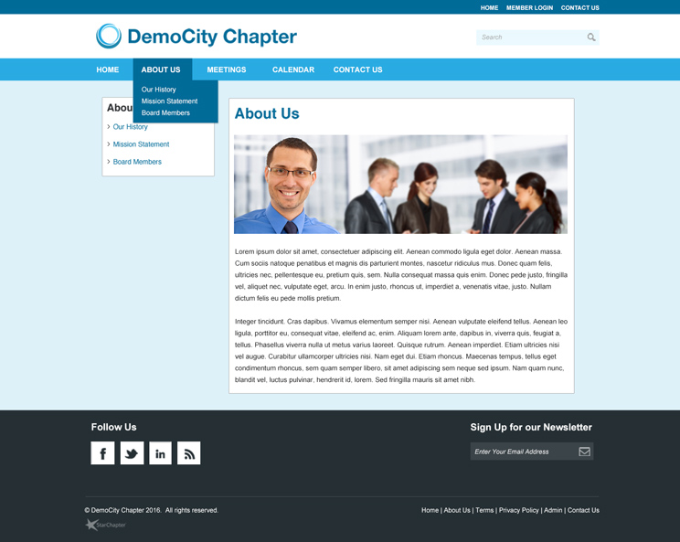 Layout 1c shows the interior website layout.
